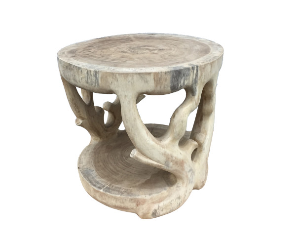 Teakholz Tisch Beistelltisch aus der Teakwurzel Ø 60cm, 60cm hoch