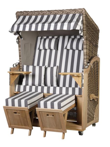 Akazienholz Strandkorb 2-Sitzer Volllieger SO-GR-Design 47