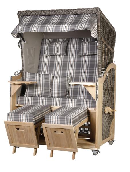Akazienholz Strandkorb 2-Sitzer Volllieger MO-GR-Design 18