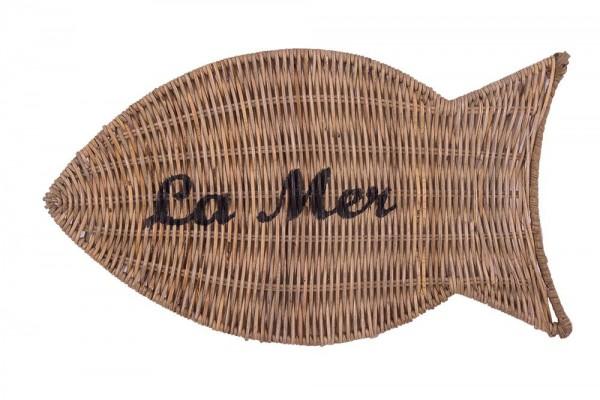 """Untersetzer in Fischform """" La Mer """" aus Naturrattan"""