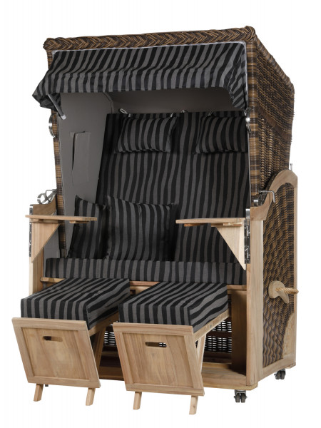 Akazienholz Strandkorb 2-Sitzer Volllieger CR-GR-Design 17