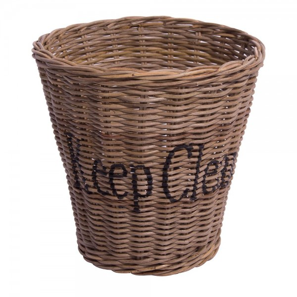 "Papierkorb "" Keep Clean "" aus Naturrattan"