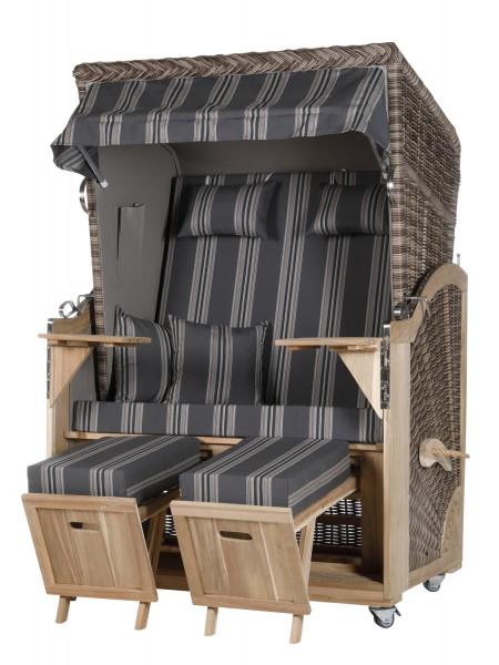 Akazienholz Strandkorb 2-Sitzer Volllieger SO-GR-Design 16