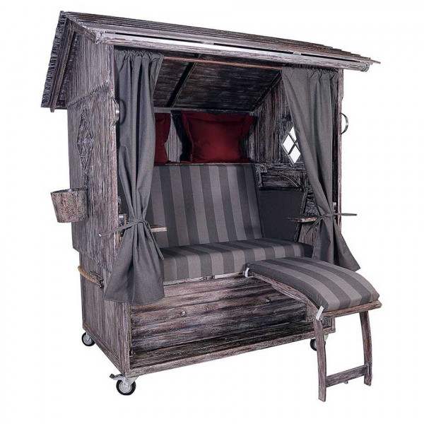 Mahagoni Alm Strandkorb 2,5 - Sitzer White Washed inkl. Rollen, Lifter und Glasfenstern