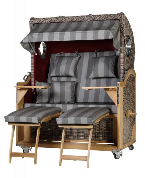 Teak Strandkorb Kampen Flex 2,5 Sitzer elegant Grau Bordeaux Rot Sonic Bullaugen