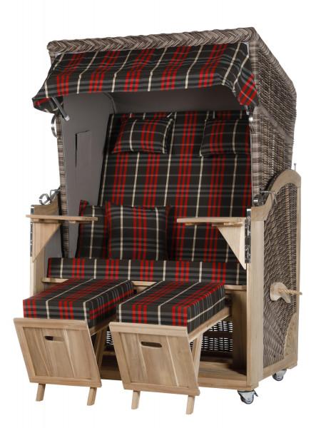 Akazienholz Strandkorb 2-Sitzer Volllieger SO-GR-Design 13