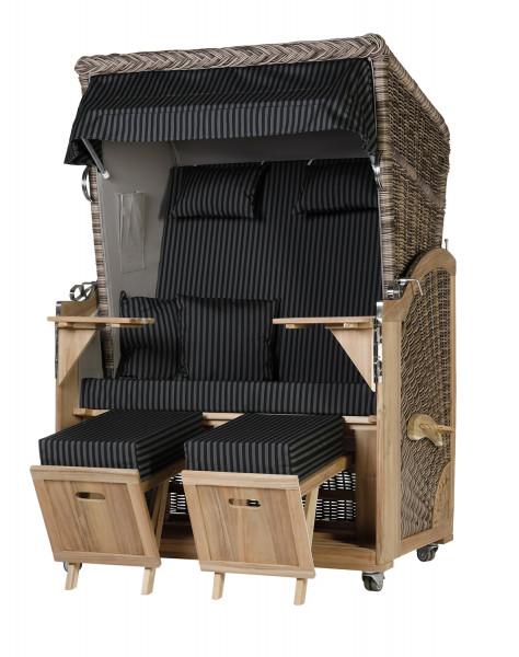 Akazienholz Strandkorb 2-Sitzer Volllieger SO-GR-Design 26