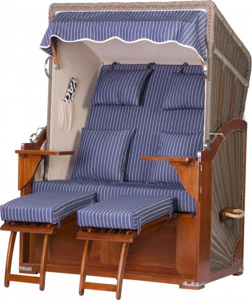 Mahagoni Strandkorb Fehmarn 2-Sitzer Volllieger Blau Nadelstreifen