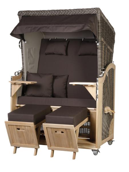 Akazienholz Strandkorb 2-Sitzer Volllieger MO-GR-Design 54