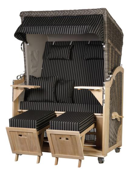 Akazienholz Strandkorb 2-Sitzer Volllieger MO-GR-Design 26