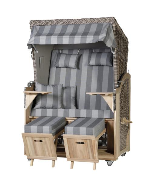 Akazienholz Strandkorb 2-Sitzer Volllieger SO-GR-Design 34