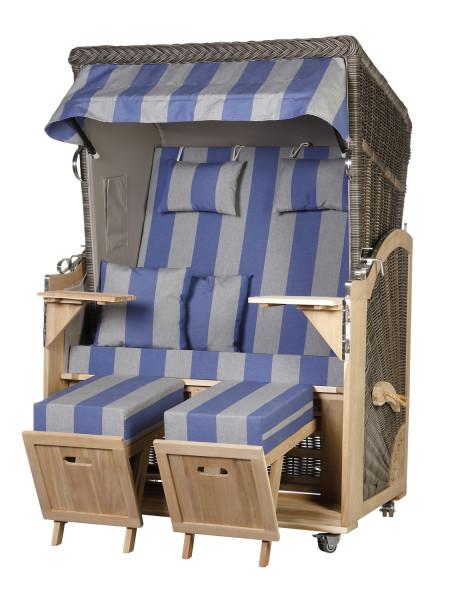 Akazienholz Strandkorb 2-Sitzer Volllieger MO-GR-Design 53