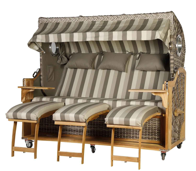 teak strandkorb kampen 3 sitzer gestreift bullaugen inkl viel zubeh r wodega wohnen deko garten. Black Bedroom Furniture Sets. Home Design Ideas