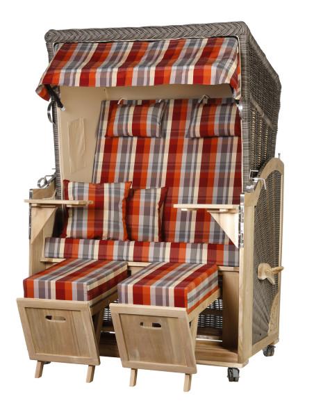 Akazienholz Strandkorb 2-Sitzer Volllieger MO-BE-Design 43