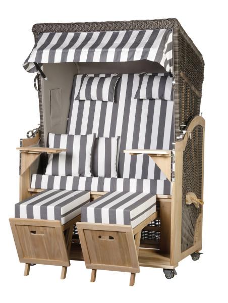 Akazienholz Strandkorb 2-Sitzer Volllieger MO-GR-Design 47