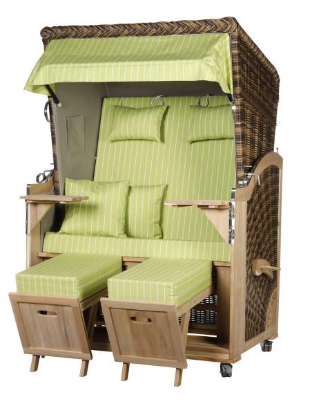 Akazienholz Strandkorb 2-Sitzer Volllieger CR-GR-Design 51