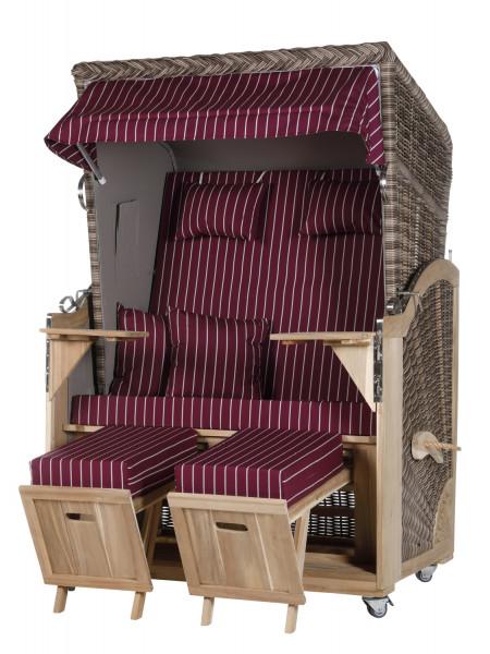 Akazienholz Strandkorb 2-Sitzer Volllieger SO-GR-Design 14