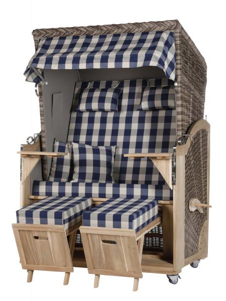Akazienholz Strandkorb 2-Sitzer Volllieger SO-GR-Design 12