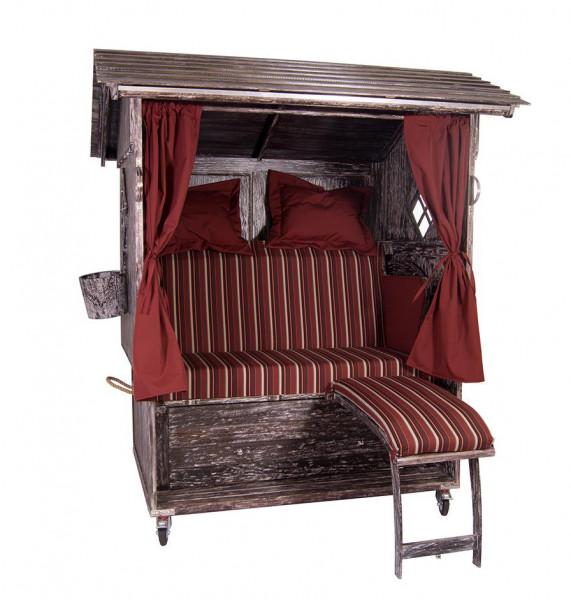 Mahagoni Alm Strandkorb 2,5 - Sitzer White Washed inkl. Rollen, Lifter und Glasfenstern-Copy-Copy