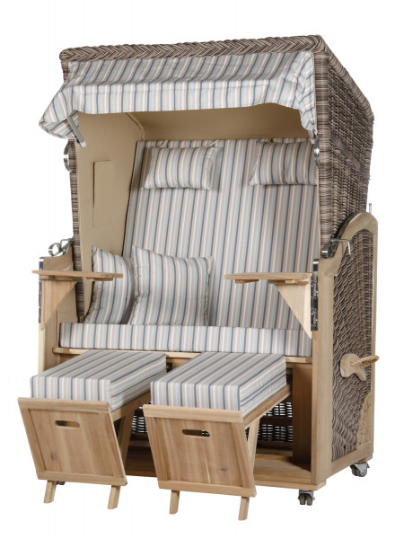 Akazienholz Strandkorb 2-Sitzer Volllieger SO-BE-Design 21