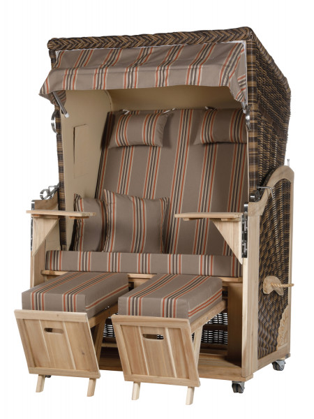 Akazienholz Strandkorb 2-Sitzer Volllieger CR-BE-Design 19
