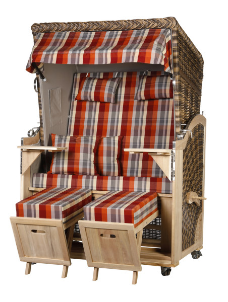 Akazienholz Strandkorb 2-Sitzer Volllieger CR-GR-Design 43