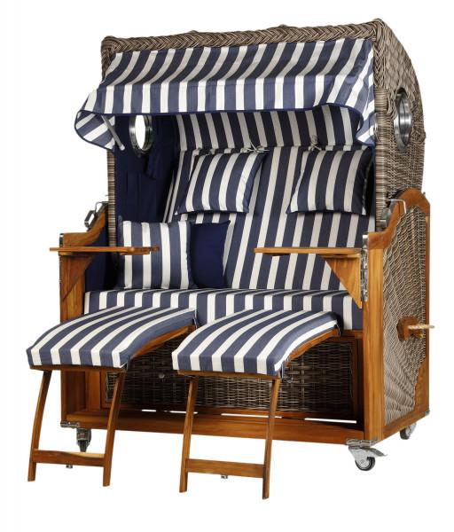 Teak Strandkorb Kampen Business 2,5 - Sitzer Blau Weiß Blockstreifen - Geflecht Sonic