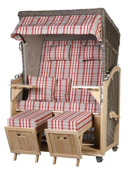 Akazienholz Strandkorb 2-Sitzer Volllieger MO-GR-Design 30