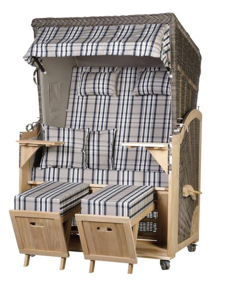 Akazienholz Strandkorb 2-Sitzer Volllieger MO-GR-Design 31