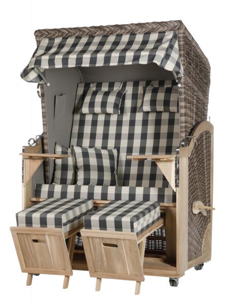Akazienholz Strandkorb 2-Sitzer Volllieger SO-GR-Design 11