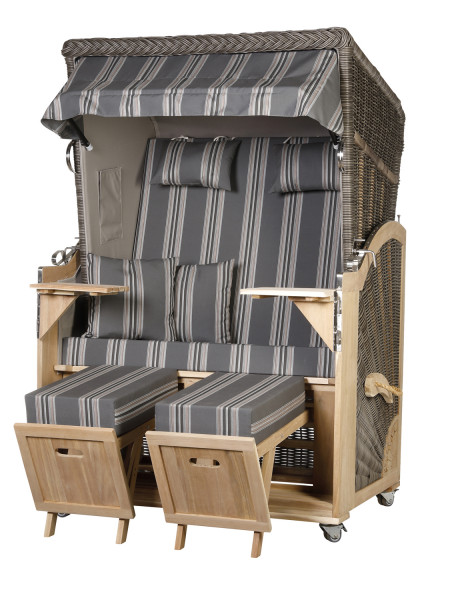 Akazienholz Strandkorb 2-Sitzer Volllieger MO-GR-Design 16