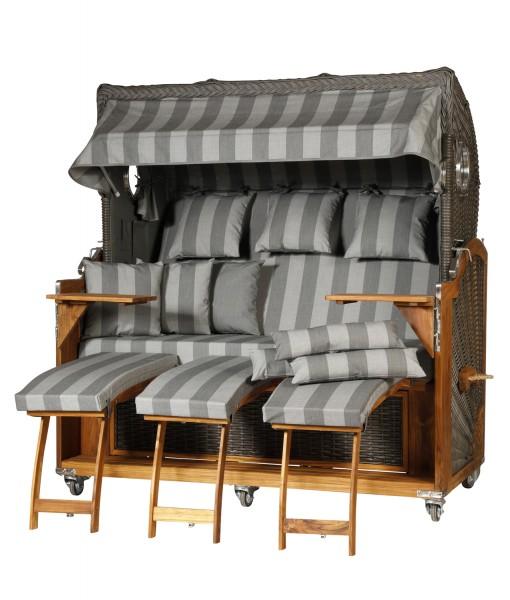 Teak Strandkorb Kampen Business 3 - Sitzer elegant Grau gestreift Bullaugen