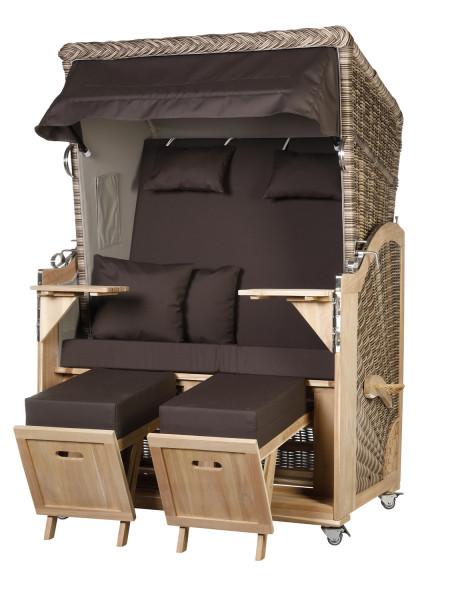 Akazienholz Strandkorb 2-Sitzer Volllieger SO-GR-Design 54
