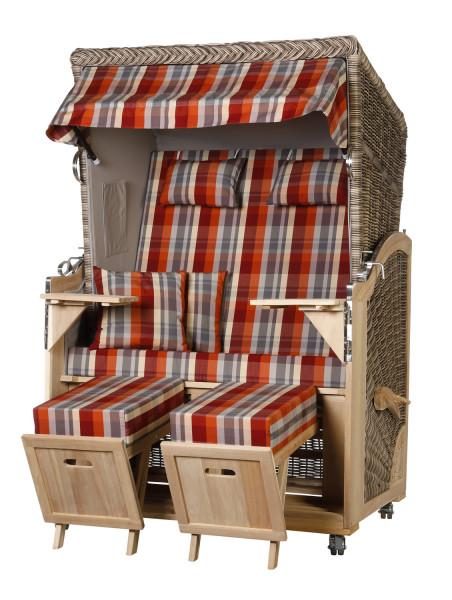 Akazienholz Strandkorb 2-Sitzer Volllieger SO-GR-Design 43