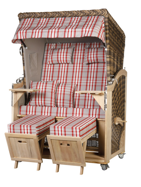 Akazienholz Strandkorb 2-Sitzer Volllieger CR-GR-Design 30