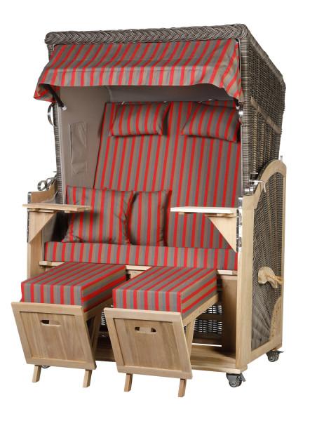 Akazienholz Strandkorb 2-Sitzer Volllieger MO-GR-Design 49