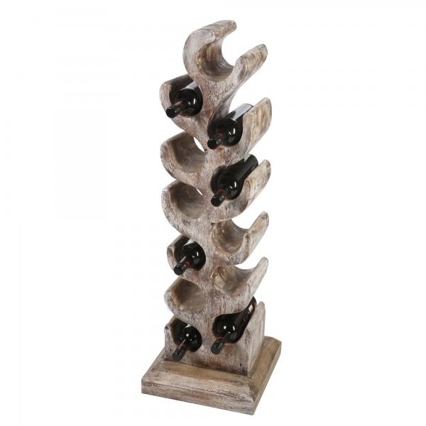 Teakholz Weinständer Weinregal 108cm hoch, für bis zu 12 Flaschen White Washed