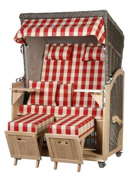 Akazienholz Strandkorb 2-Sitzer Volllieger MO-GR-Design 50