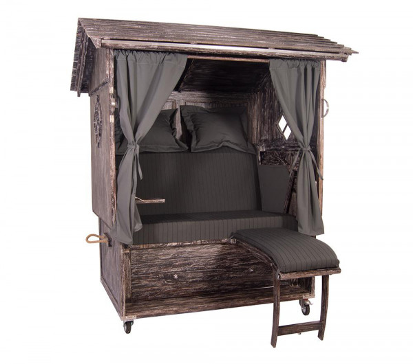 Mahagoni Alm Strandkorb 2,5 - Sitzer White Washed inkl. Rollen, Lifter und Glasfenstern-Copy