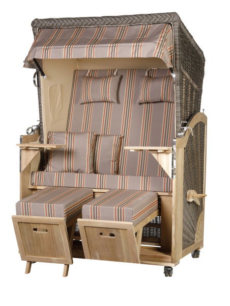 Akazienholz Strandkorb 2-Sitzer Volllieger MO-BE-Design 19